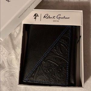 NWT Robert Graham Black Trifold Wallet